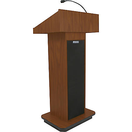 """AmpliVox S505 - Executive Sound Column Lectern - Rectangle Top - Sculpted Base - 22"""" Table Top Width x 18"""" Table Top Depth - 47"""" Height - Assembly Required - High Pressure Laminate (HPL), Mahogany, Wood - Particleboard"""