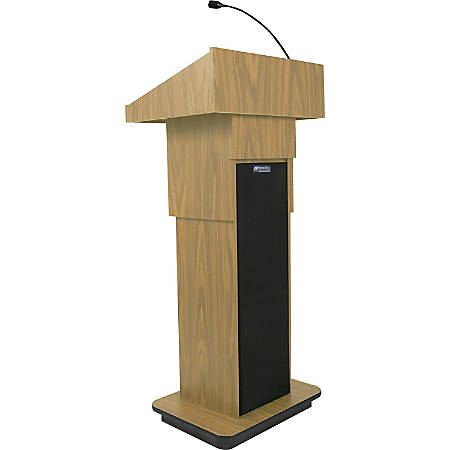"AmpliVox S505A - Executive Adjustable Column Sound Lectern - Rectangle Top - Sculpted Base - 25"" Table Top Width x 19"" Table Top Depth - 45"" Height - Assembly Required - High Pressure Laminate (HPL), Oak, Wood - Particleboard"