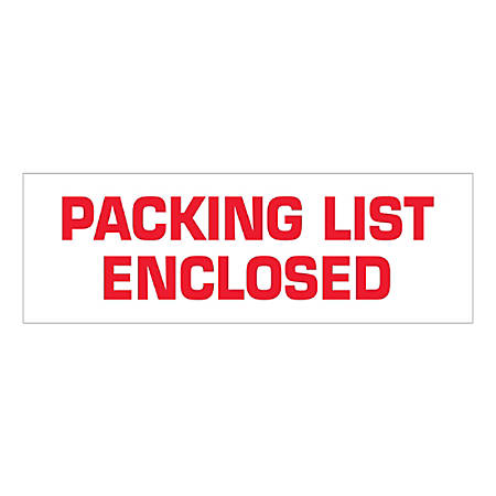 "Tape Logic Pre-Printed Carton Sealing Tape, ""Packing List Enclosed"", 3"" x 110 Yd., Red/White, Case Of 6 Rolls"
