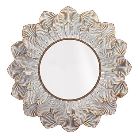 "Zuo Modern Flora Oval Mirror, 37 7/8""H x 39""W x 1 5/8""D, Distressed Brown"