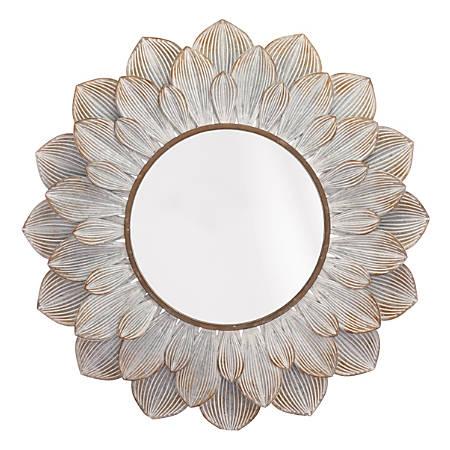 "Zuo Modern Flora Oval Mirror, 37 7/8""H x 39""W x 1 5/8""D, Distressed Brown"