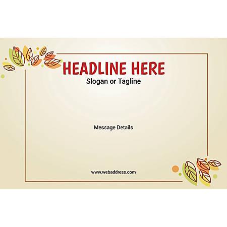 Adhesive Sign, Leaves, Horizontal