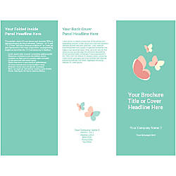 Customizable Trifold Brochure Teal Butterflies