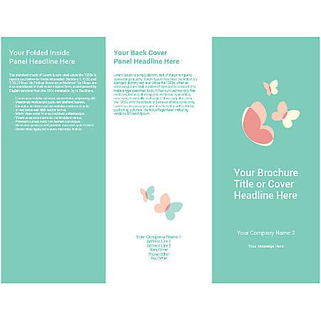 Customizable Trifold Brochure, Teal Butterflies