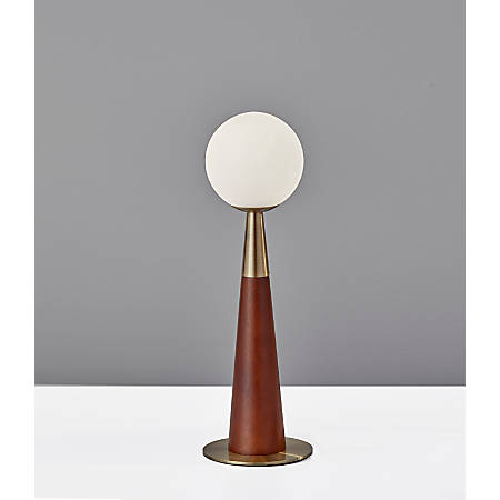 "Adesso® Pearl LED Accent Lamp, 13-1/2""H, White Opal Shade/Walnut And Antique Brass Base"