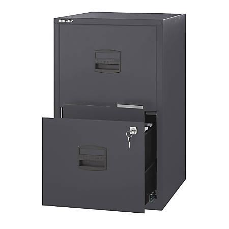 "Bisley PFA 16""D 2-Drawer Letter/Legal Metal Vertical File Cabinet, Charcoal"