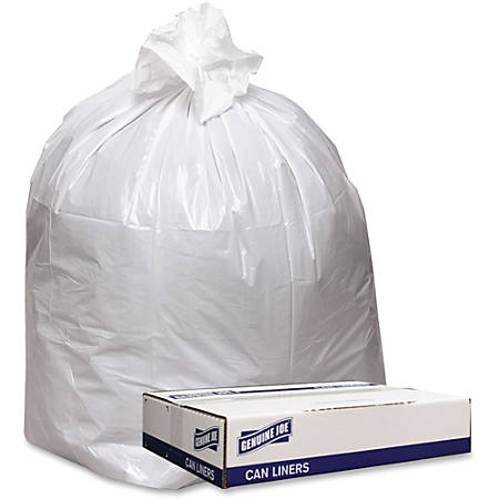 "Genuine Joe Extra Heavy-duty White Trash Can Liners - 43"" Width x 47"" Length x 0.90 mil (23 Micron) Thickness - Low Density - White - 100/Carton - Industrial Trash"