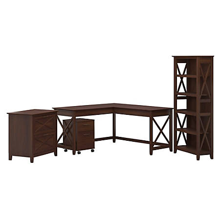 "Bush Furniture Key West 60""W L-Shaped Desk With File Cabinets And 5-Shelf Bookcase, Bing Cherry, Standard Delivery"