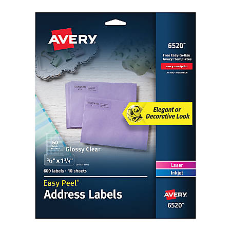 "Avery® Glossy Permanent Labels, 6520, Mailing, 11/16"" x 1 3/4"", Clear, Pack Of 600"