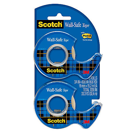 "Scotch® Wall-Safe Tape, 3/4"" x 650"", Clear"