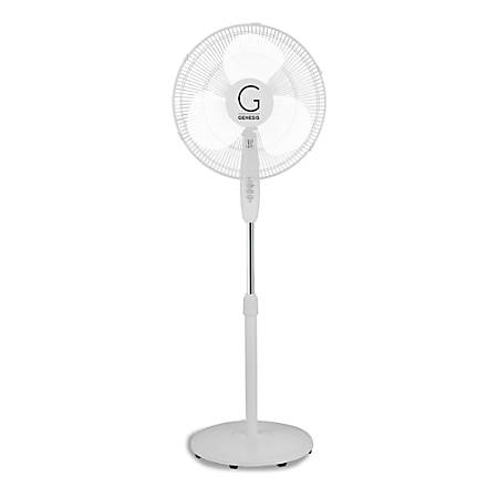 "Genesis High-Velocity 16"" Adjustable Stand Fan, White"