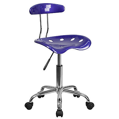 Flash Furniture Vibrant Low-Back Task Chair With Tractor Seat, Deep Blue/Chrome