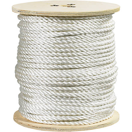 "Office Depot® Brand Twisted Polyester Rope, 5,080 Lb, 1/2"" x 600', White"