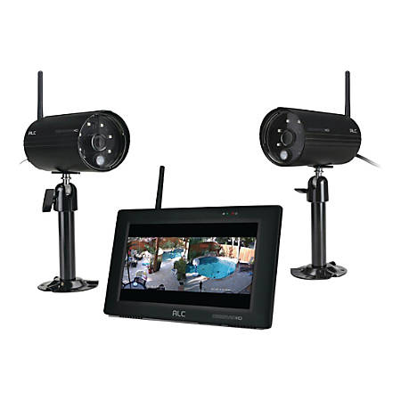 """ALC 4-Channel Surveillance System With 2 Cameras And 7"""" Touch-Screen Monitor, AWS3377"""