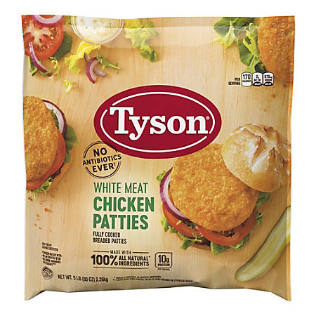 Tyson Breaded White Meat Chicken Patties, 5-Lb Bag