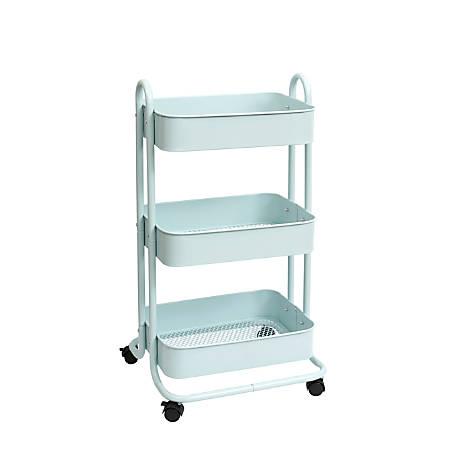 We R Memory Keepers 3-Tier Steel Rolling Storage Cart, Pale Blue