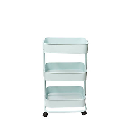 We R Memory Keepers 3-Tier Steel Rolling Storage Cart, Pale Blue