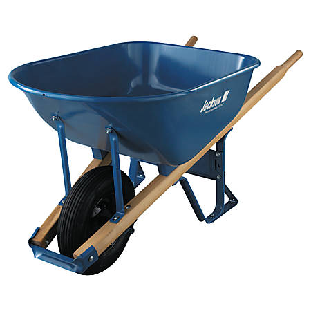 Jackson Steel Contractors Wheelbarrows, 6 cu ft, Pneumatic 2-Ply, B.B., Blue