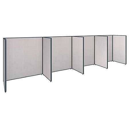 """Bush Business Furniture ProPanels 4-Person Open Cubicle Office, 67""""H x 249 5/8""""W x 76 1/8""""D, Light Gray, Standard Delivery Service"""
