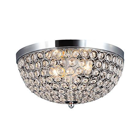 Elegant Designs 2-Light Flush-Mounted Ceiling Light, Elipse, Chrome