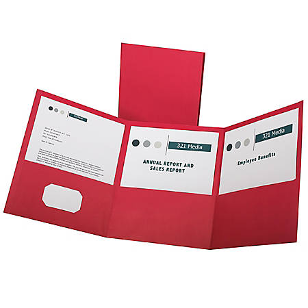 Oxford™ Tri-Fold Executive Pocket Folders, Letter Size, Red, Pack Of 20