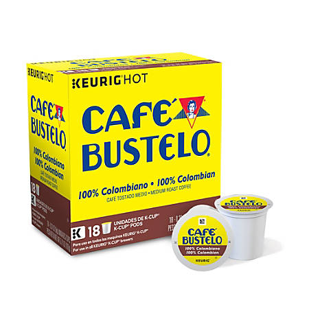 Café Bustelo 100% Colombian Coffee K-Cup® Pods, 0.4 Oz, Box Of 18 Pods