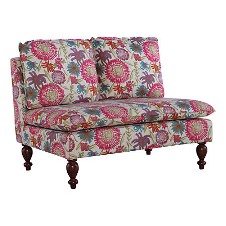 "Linon Home Décor Products Laurel Floral Settee, 35""H x 46""W x 34""D, Pink Floral/Dark Walnut"