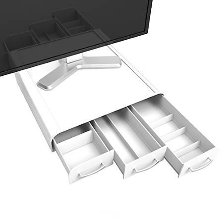 "Mind Reader Perch Plastic Monitor Stand And Desk Organizer, 2 3/4""H x 12 7/8""W x 13 1/2""D, White"