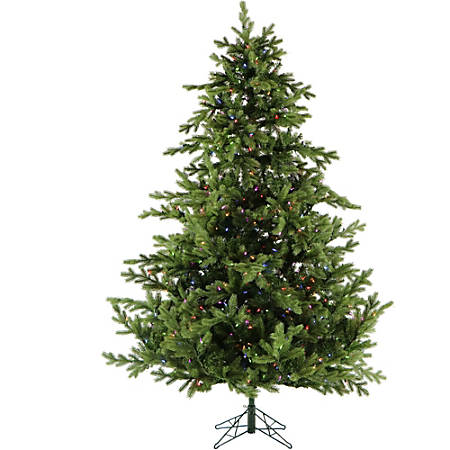 Fraser Hill Farm Southern Peace Pine Christmas Tree, With Multicolor LED String Lights, 6 1/2', Green