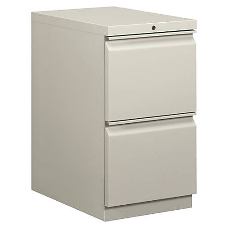 """basyx® by HON® Mobile Pedestal Vertical Filing Cabinet, 2 Drawers, 28""""H x 15""""W x 20""""D, Light Gray"""