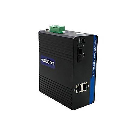 AddOn 2 10/100Base-TX(RJ-45) to 1 100Base-BXU(SC) SMF 1310nmTX/1550nmRX 20km Industrial Media Converter Switch