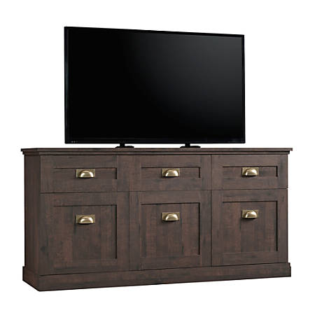 "Sauder® New Grange Entertainment Credenza For 65"" Televisions, Coffee Oak"