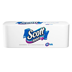 Scott® Single-Ply Bathroom Tissue, 1,000 Sheets Per Roll, Case Of 20 Rolls