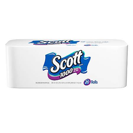 Scott® Single-Ply Bathroom Tissue, 1,000 Sheets Per Roll, Case Of 20 Rolls