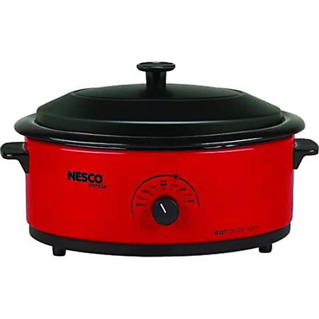 Nesco 6 Qt. Red Roaster with Porcelain Cookwell - Single - 0.20 ft³ Main Oven - Roasting, Baking Main Oven Function - 750 W - Portable - Red, Black