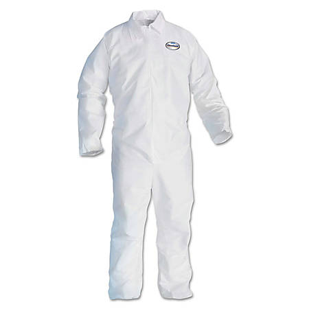 Kimberly-Clark® Professional KLEENGUARD A20 Microforce™ Particle Protection Coveralls, No Elastic, Zipper, Large, White, Pack Of 24 Coveralls