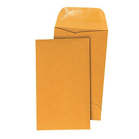 "Quality Park® Coin Envelopes, 2 1/2"" x 4 1/4"", Brown Kraft, Box Of 500"