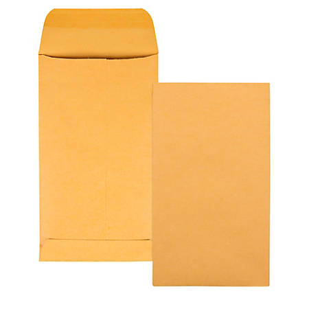 "Quality Park® Coin Envelopes, 3 1/8"" x 5 1/2"", Brown Kraft, Box Of 500"