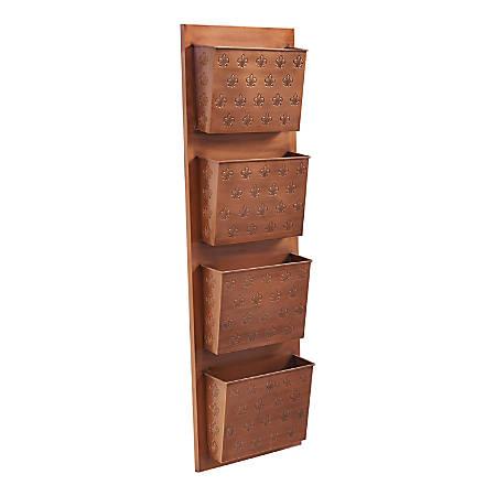 "Linon Rio 4-Slot Wall Mailbox, 45""H x 14-1/2""W x 4-3/4""D, Copper Fleur-De-Lis"