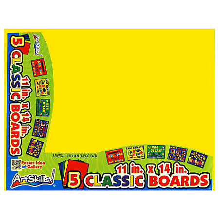 """ArtSkills® 60% Recycled Classic Color Boards, 11"""" x 14"""", Assorted Colors, Pack Of 5"""
