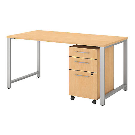 Bush Business Furniture 400 Series Table Desk With 3 Drawer Mobile File Cabinet, Natural Maple, Standard Delivery