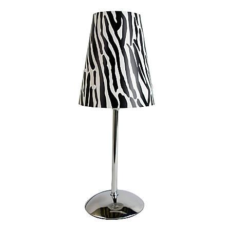 "LimeLights Mini Table Lamp, 13 1/2""H, Zebra Shade/Silver Base"