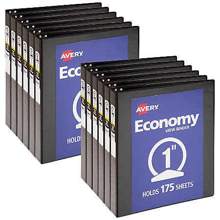 """Avery® Economy View Binders With Round Rings, 1"""" Rings, 32% Recycled, Black, Case Of 12 Binders"""