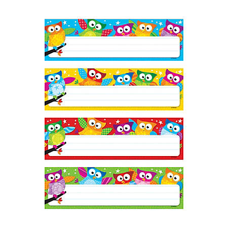 "TREND Owl-Stars!® Desk Toppers® Variety Name Plates, 2 7/8"" x 9 1/2"", Multicolor, Pre-K - Grade 5, 32 Plates Per Pack, Set Of 6 Packs"