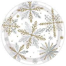 Amscan Christmas Shining Snow Round Paper