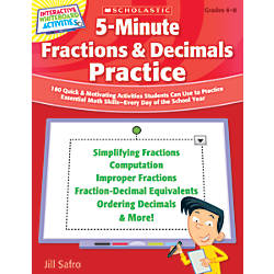 Scholastic 5 Minute Fractions Decimals Practice