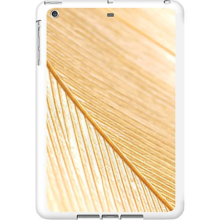 OTM iPad Air White Glossy Case Feather Collection, Gold - For Apple iPad Air Tablet - Feather - White, Gold - Glossy