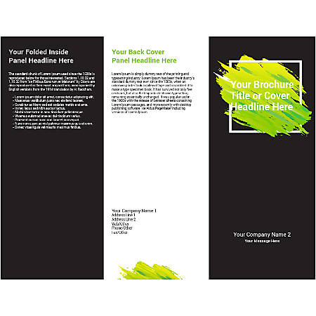 Customizable Trifold Brochure, Black/Green Frame