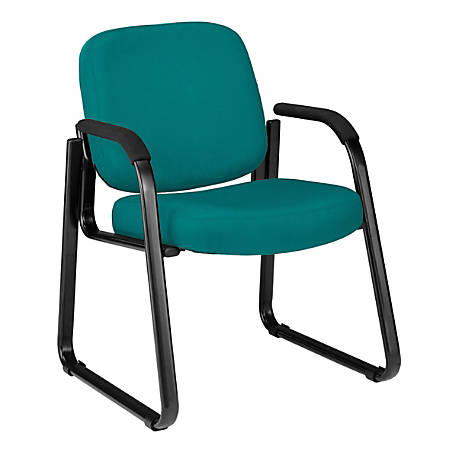 "OFM Guest Chair With Fabric Seat And Back, 34""H x 24""W x 27""D, Black Frame, Teal Fabric"