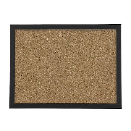 "FORAY™ Cork Board, Natural Cork, 24"" x 36"", Black Décor Frame"